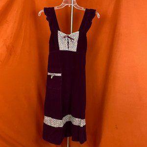 VINTAGE 70s Corduroy Floral Prairie Dress